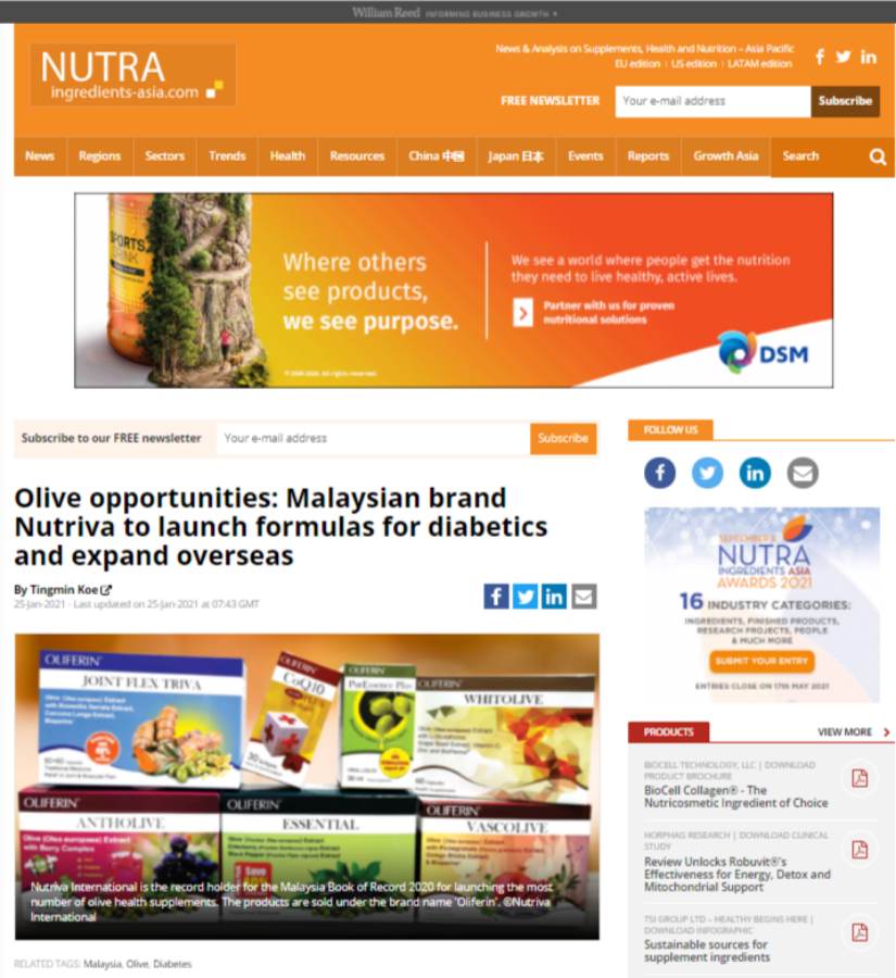 Olive opportunities: Malaysian brand Nutriva to launch formulas for diabetics and expand overseas